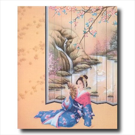 Japanese Oriental Lady Beach Wall Picture Art Print (Oriental Art Supply)