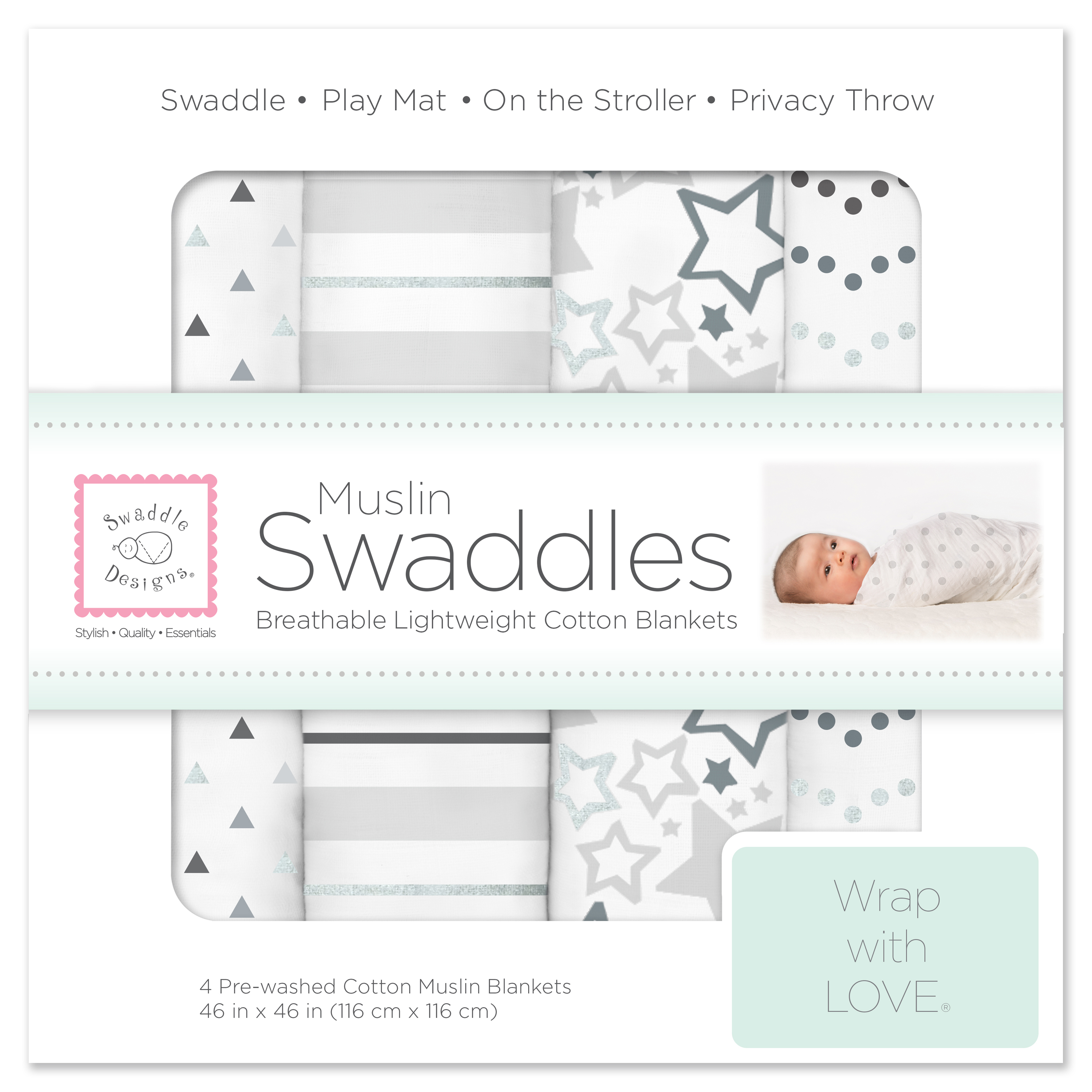 SwaddleDesigns X-Large Cotton Muslin Swaddle Blankets, Set of 4, Starshine Shimmer, Sterling