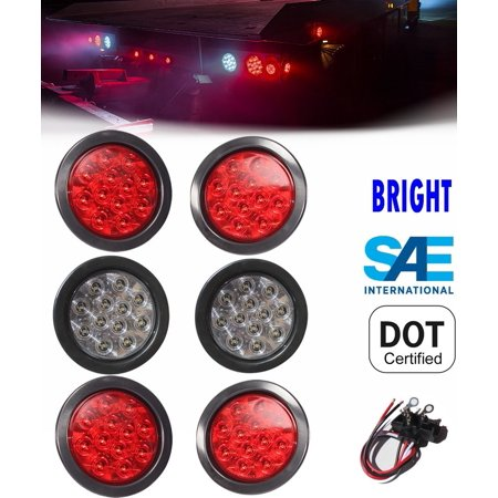 """Set of 6 Round LED Light 4 Red & 2 White 4"""" Brake Stop Turn Tail Back up Reverse for Truck Trailer Jeep Tractor Universal Fit SAE DOT Approved"""