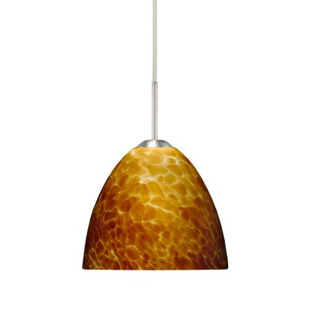 Besa Lighting 1BT-757218 Sasha II 1 Light Cord-Hung Mini Pendant with Amber Clou