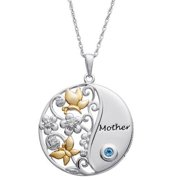 Sterling Silver A Mother's Love Birthstone Pendant January