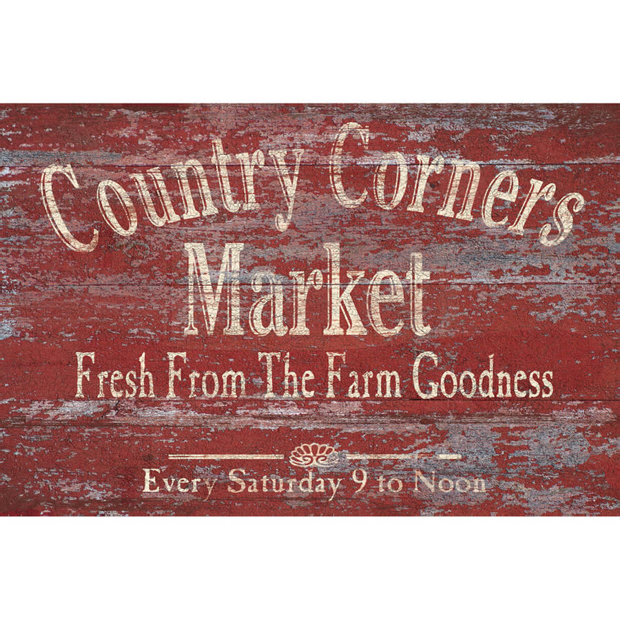 "Portfolio Canvas Decor ""Vintage Signs: Country Corners 2"" by IHD Studio Framed and Stretched Ready-to-Hang Canvas Wall Art"