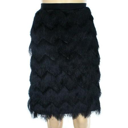 Alfani Prima New Deep Black Womens Size 6 Fringe Stretch Knit Skirt