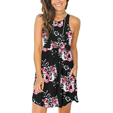 YUNDAI Women's Sleeveless Summer Casual Sundress Short Dress With Pockets