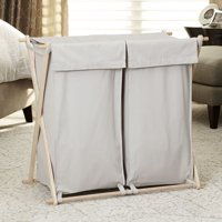 Household Essentials Double X-Frame Wood Laundry Sorter with 2 Machine Washable Gray Liners