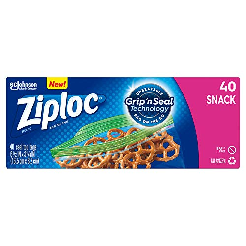 Ideal for Packing Cookies 40 Count-2 Pack Vegetables Chips and More Ziploc Snack Bags with New Grip n Seal Technology Fruits