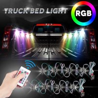 LED Truck Bed Lights, TSV 8Pcs LED Rock Lights 48 LEDs RGB Truck Bed Cargo Lights with Remote Control, On/Off Switch & IP67 Waterproof for Pickup Truck, RV, SUV, Boats, Unloading Cargo Area