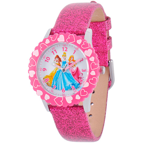 Disney Princess Girls' Stainless Steel Case Watch, Pink Glitter Leather Strap