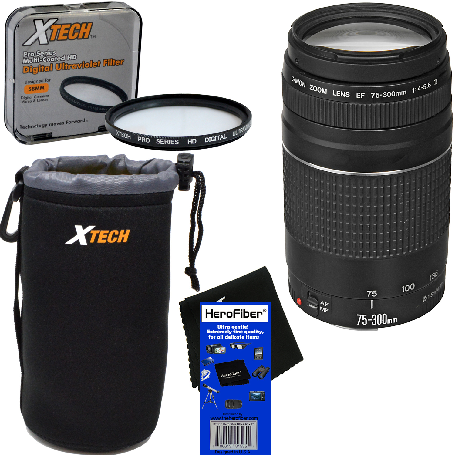 Canon EF 75-300mm f/4-5.6 III Telephoto Zoom Lens for EOS 7D, 60D, 70D, EOS Rebel SL1, T1i, T2i, T3, T3i, T4i, T5, T5i, T6, T6i, T6s, T7i, XS, XSi, XT, & XTi Digital SLR Cameras + 3pc Accessory Kit