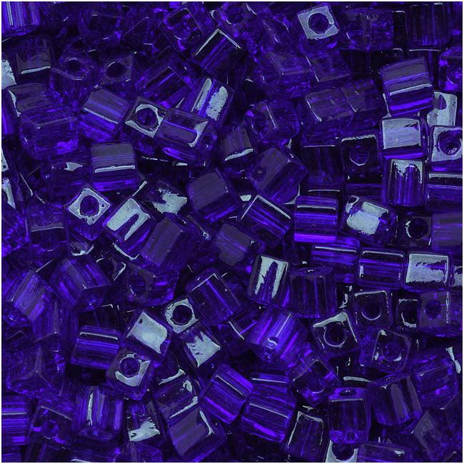 Miyuki 4mm Glass Cube Beads Transparent Cobalt Blue #151 10 Grams