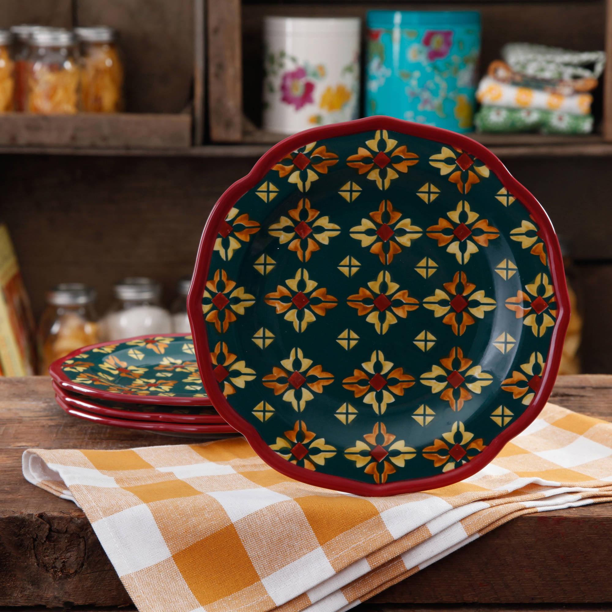 The Pioneer Woman Vintage Geo Salad Plate Set 4-Pack 85081344076 | eBay