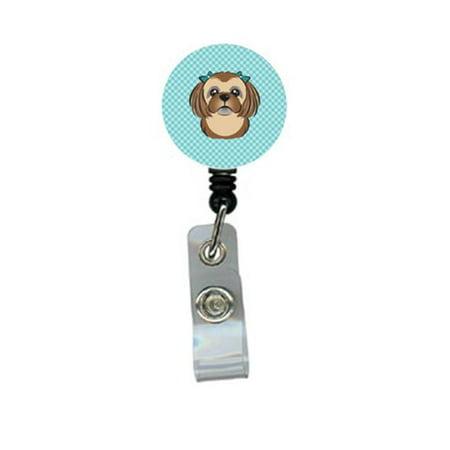 Checkerboard Blue Chocolate Brown Shih Tzu Retractable Badge Reel - image 1 de 1