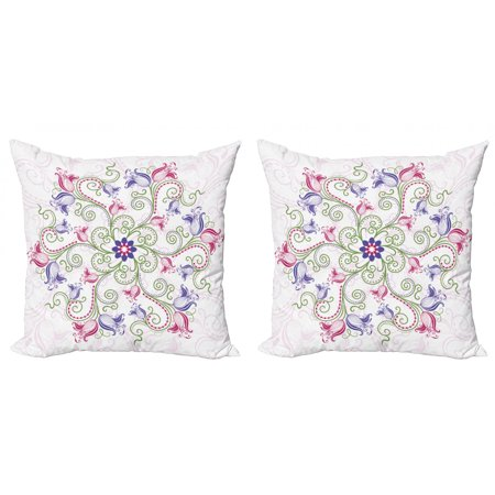 Mandala Throw Pillow Cushion Cover Pack of 2, Round Flower Frame Design Classical Vintage Floral Art Ottoman Tulips, Zippered Double-Side Digital Print, 4 Sizes, Purple Green White, by Ambesonne