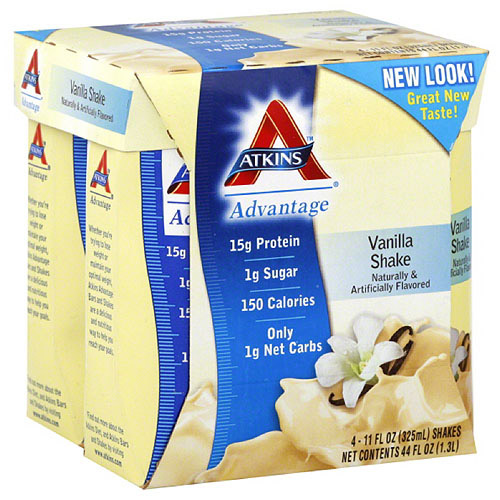 Atkins Vanilla Nutritional Shake, 4 count, (Pack of 6)