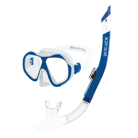 Body Glove Enlighten II Large/XL Diving Snorkel and Goggles Mask Set, Clear/Blue (Body Glove Diving)