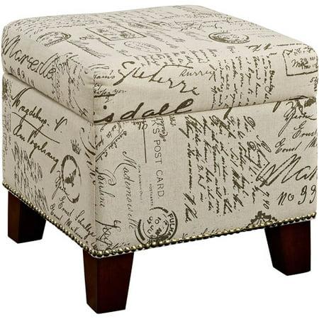 Dorel Living Blake Script Storage Cube Ottoman - Ottomans & Poufs : Living Room Furniture - Walmart.com - Walmart.com