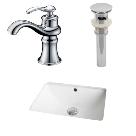 Rectangle Single Hole - American Imaginations 18.25-in. W x 13.75-in. D CUPC Rectangle Undermount Sink Set In White With Single Hole CUPC Faucet And Drain