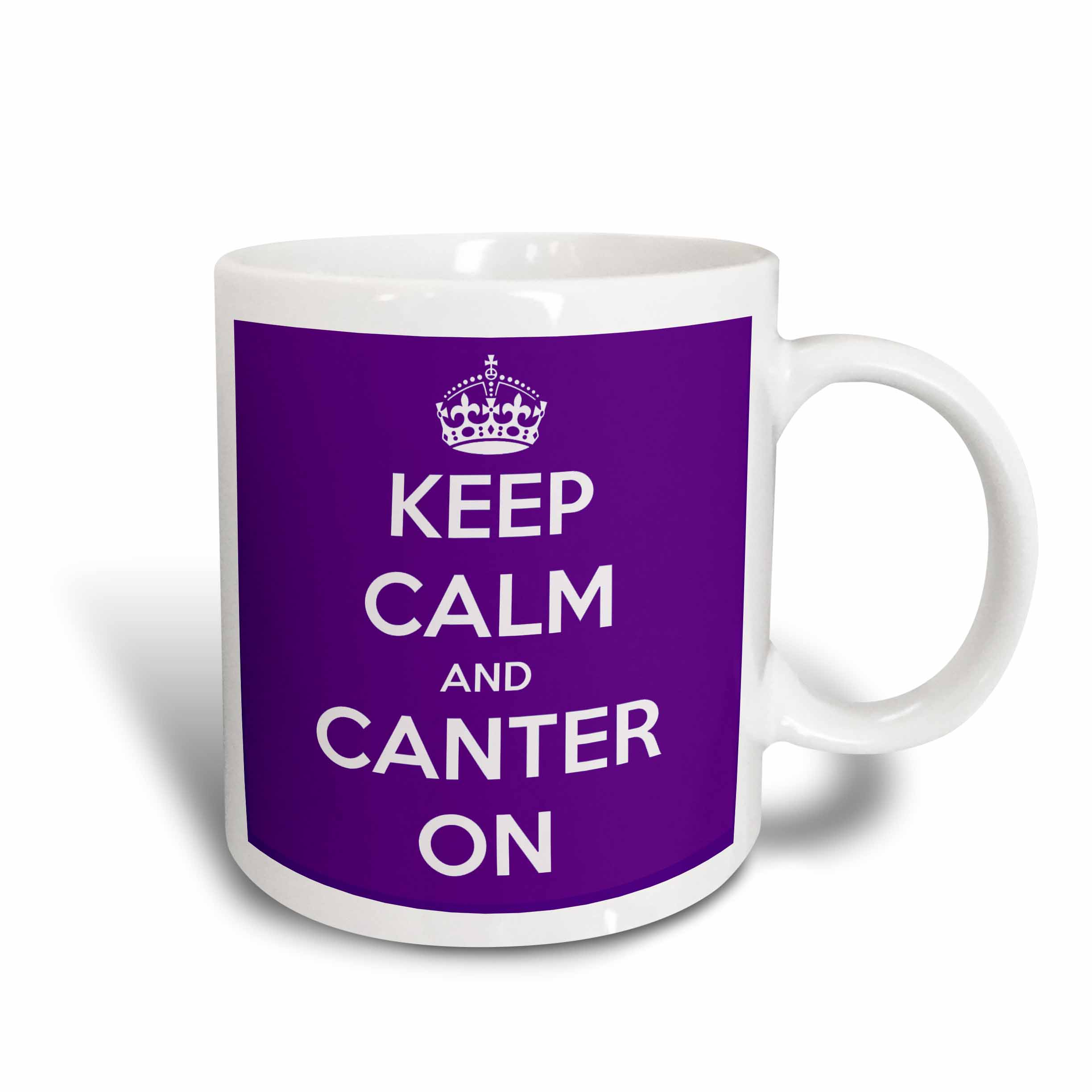 3dRose Keep calm and canter on. Purple., Ceramic Mug, 11-ounce