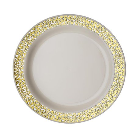 Balsacircle 10 Pcs Disposable Plastic Round Plates With Lacy Trim