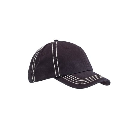 Big Accessories BA509 Contrast Thick Stitch Unstructured Cap - Black/ Cream - One Size