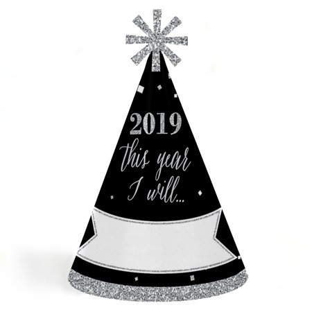 New Years Hat (New Year's Eve - Silver - 2019 Cone New Years Eve Resolution Party Hats for Kids and Adults - Set of 8 (Standard)