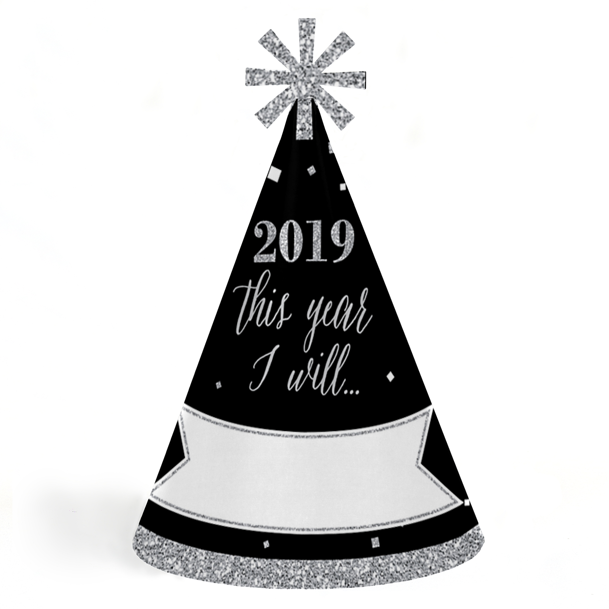 New Year's Eve - Silver - 2019 Cone New Years Eve Resolution Party Hats for Kids and Adults - Set of 8 (Standard Size)