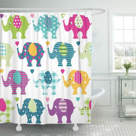 KSADK Blue Animal Colorful Elephants Pattern Green Cartoon Collection Cute Dot Ear Eye Shower Curtain Bath Curtain 60x72 (Green Cartoon Eyes)