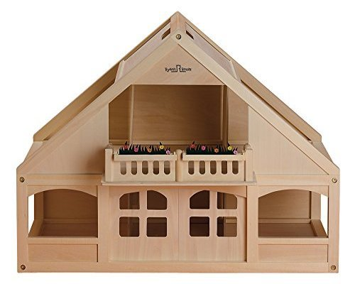 Ryans Room Small World Toys Classic Wooden Dollhouse with 6 Rooms and Balcony by