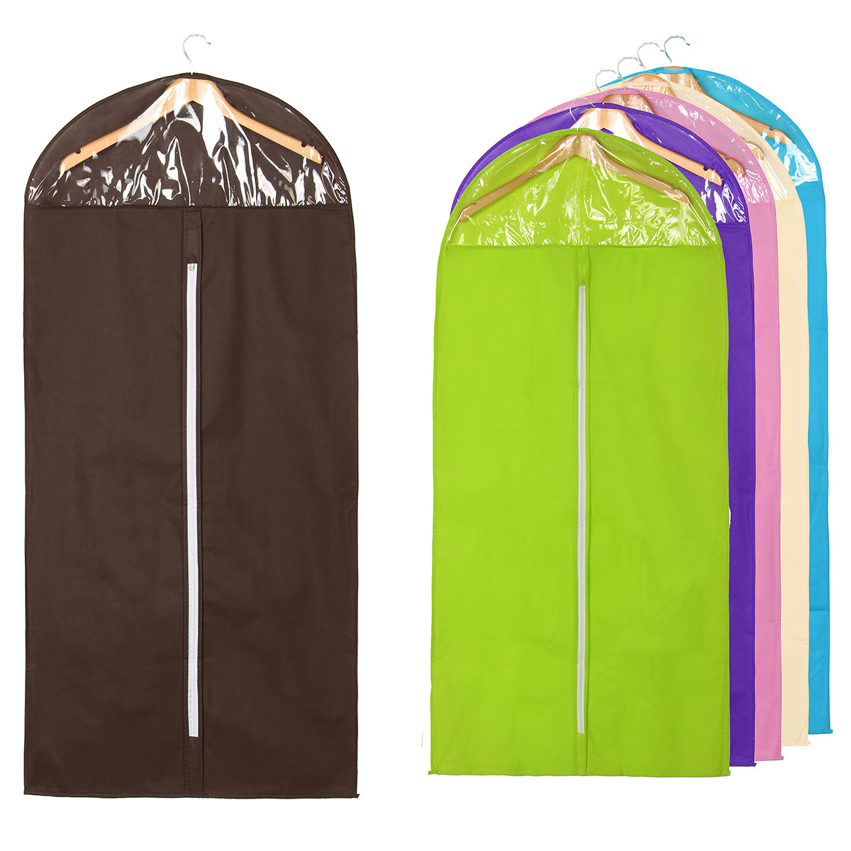 "Garment Bag Flodable Storage Covers Full Zipper Suit Bag with Clear Window Pack 23.6""x51.1"" For Luggage, Dresses, Storage or Travel ,Purple color"