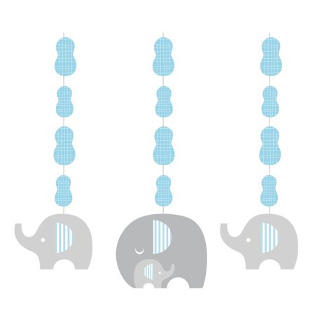 Creative Converting Little Peanut Boy Elephant Hanging Cutouts, 3 ct