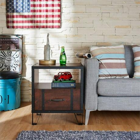furniture of america dahlia 1 drawer end table in vintage walnut. Black Bedroom Furniture Sets. Home Design Ideas
