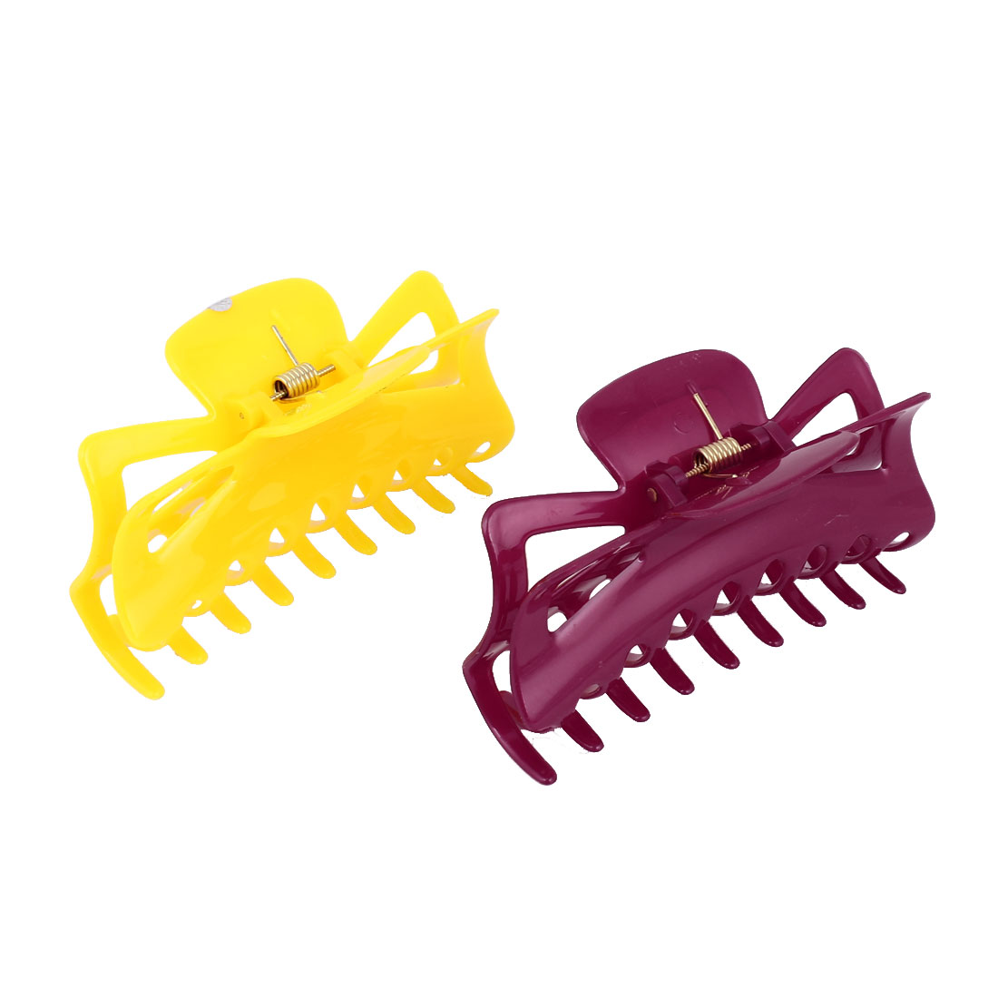 2pcs Hairdressing Tool Spring Loaded Yellow Red Plastic Claw Hair Clip for Lady - image 1 of 1