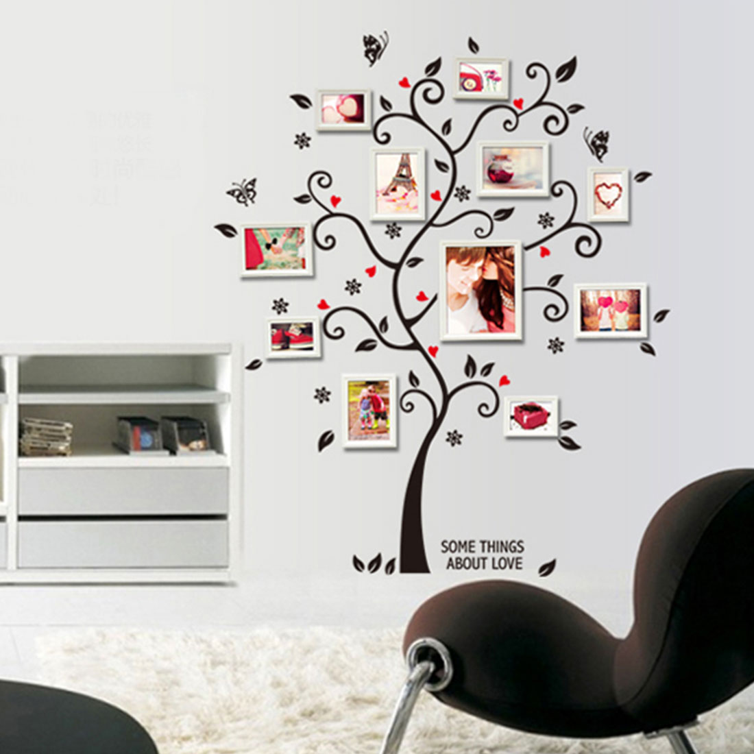 Vinyl Butterfly Family Tree Decor Removable Diy Photo Frames Home