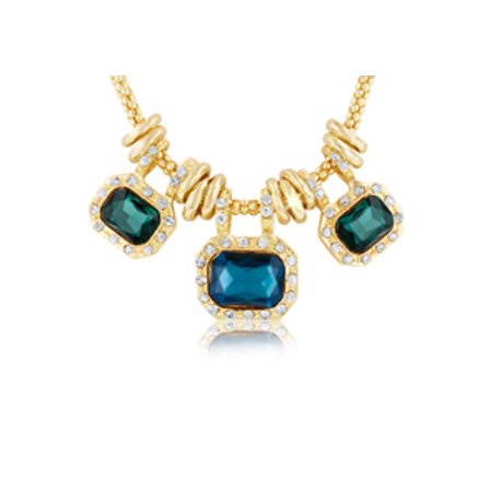 18 Karat Gold Plated Emerald and Blue Sapphire Glass And Crystal Statement Necklace 18 Inches Blue Sapphire Emerald Necklace