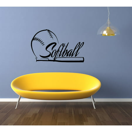 Stickalz Llc Softball Ball And Bat Wall Art Sticker Decal
