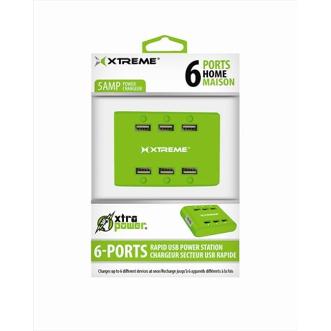 Xtreme Cables 81265 6 Port USB Hub With Power Station - Green