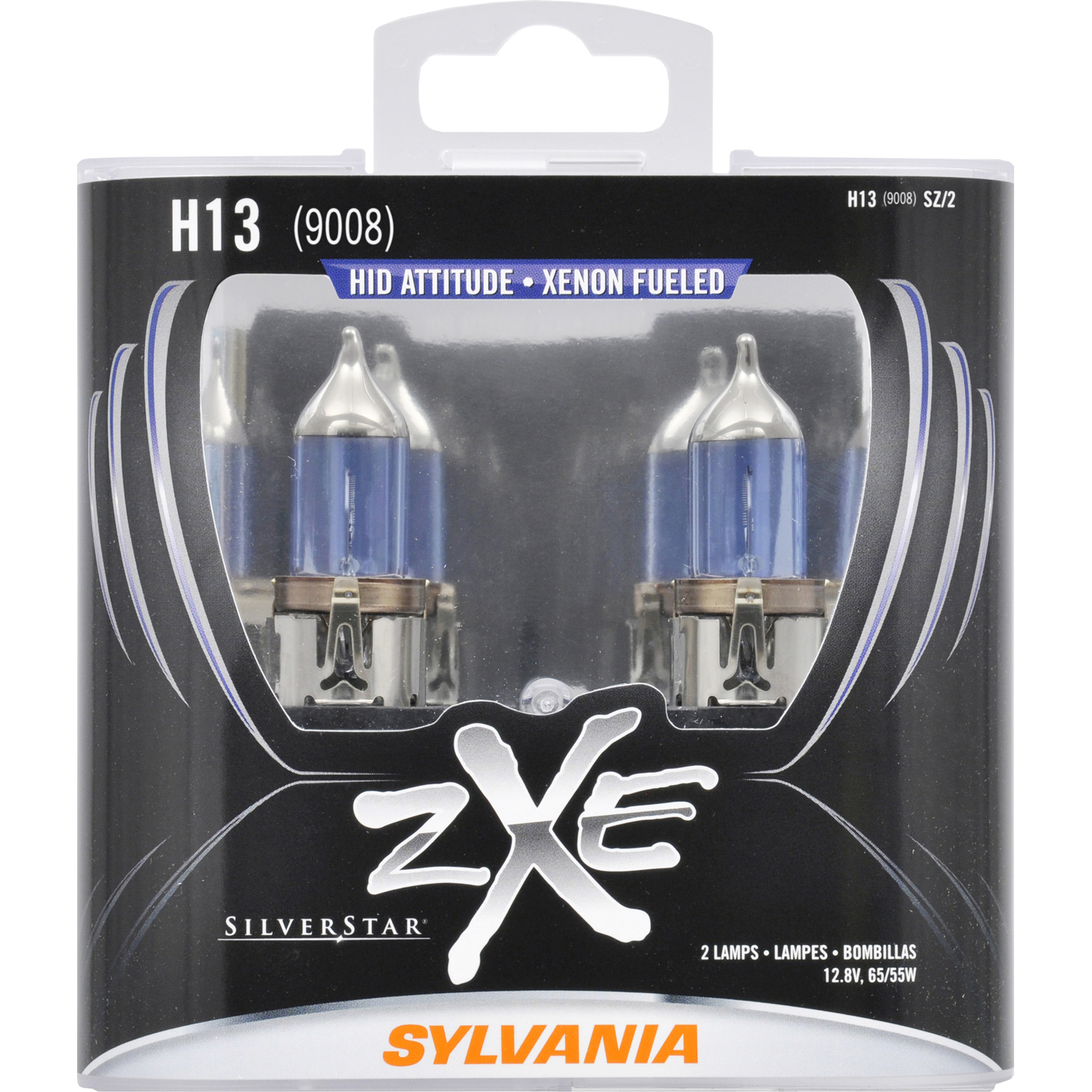 SYLVANIA H13 SilverStar zXe Halogen Headlight Bulb, Pack of 2