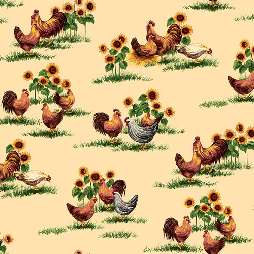 VIP Fabrics Roosters Home Decoration Fabric, 75207-E