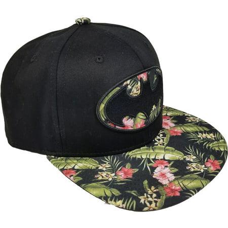promo code 0f1a1 80e8b Women s Batman Embroidered Flat Bill Hat with Floral Bill - Walmart.com