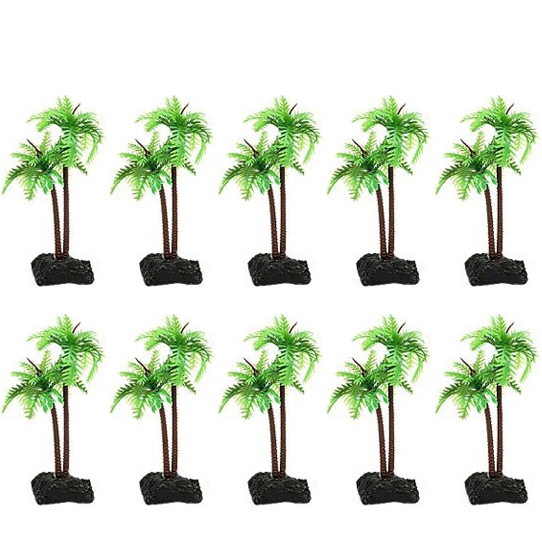 10Pcs Artificial Coconut Trees Landscaping with Medium Base for Fish Tank Fake Mountain Bonsai Decor - Green