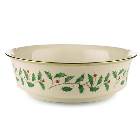 Lenox Holiday Ivory Bone China Vegetable Serving Bowl with Gold Rim