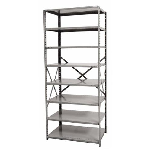 87 in. High 8-Tier Medium-Duty Open Shelving in Gray Finish (36 in. W x 12 in. D x 87 in. H)