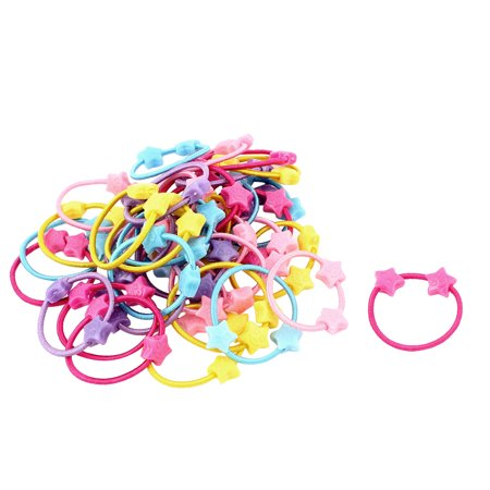 Unique Bargains 50 Pcs Heart Shape Colorful Elastic Ponytail Holder Hair Ties Bands for Girl - Slinky Hair Ties