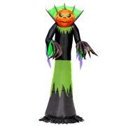 Halloween Haunters Giant 10 Foot Inflatable Black, Green and Orange Grim Reaper with a Pumpkin Head Yard Prop Decoration