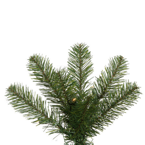 Vickerman Salem Pencil Pine 7.5' Green Artificial Christmas Tree with 350 Clear Lights with Stand