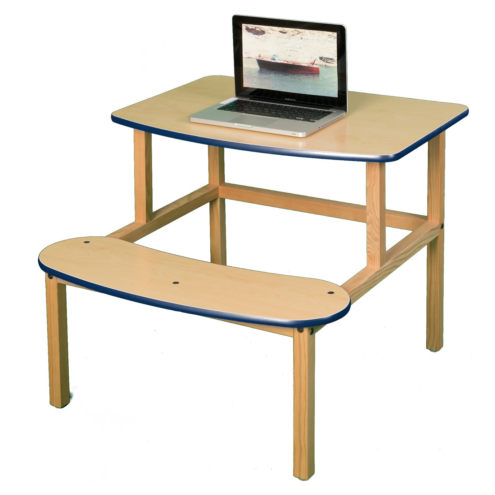 Student Desk in Maple and Yellow