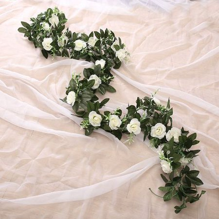 AkoaDa 1PCS Artificial Rose Vine Silk Flower Garland Hanging Vines Home Outdoor Wedding Arch Garden Wall Decor](Outdoor Wedding Decor)