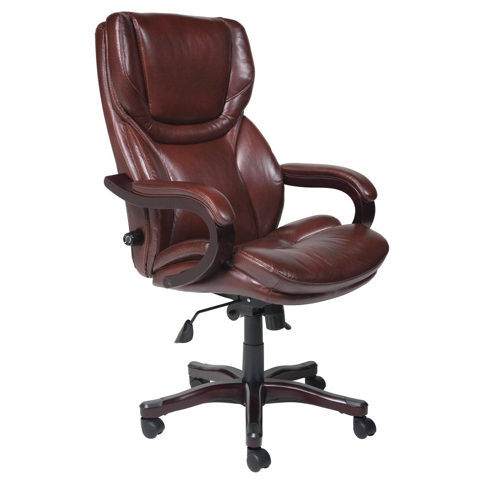 Serta Executive Big Tall Bonded Leather Office Chair Brown Walmart Com Walmart Com
