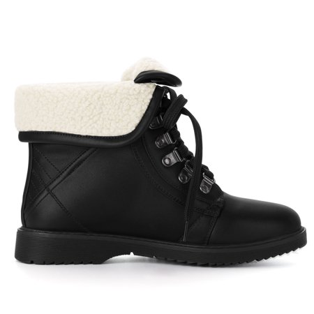 Women's Plush Winter Ankle Lace Up Combat Boots Black US 7.5 - image 2 of 7