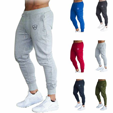 Mens Slim Fit Tracksuit Sport Gym Skinny Jogging Joggers Sweat Pants